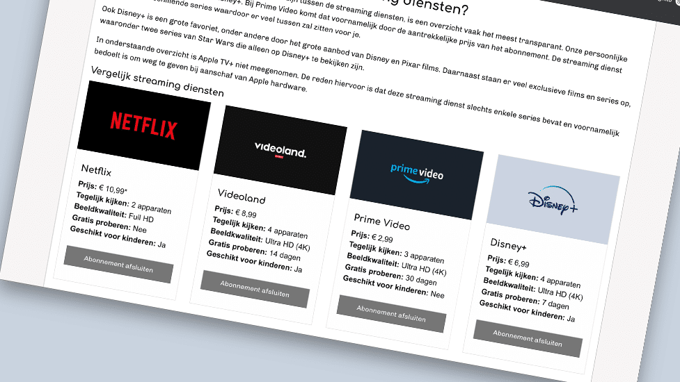 Vergelijk streaming diensten